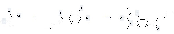 1-Pentanone,1-[3-hydroxy-4-(methylamino)phenyl]- can be used to produce 2,4-dimethyl-7-pentanoyl-4H-benzo[1,4]oxazin-3-one at the temperature of 90 °C.